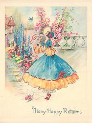 MANY HAPPY RETURNS lady in blue dress & orange trim faces left, looks up at bluebird, many flowers behind