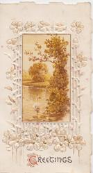 GREETINGS(G illuminated) below  perforated  white marginal design of stylised flowers, watery rural brown inset, swans