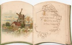 no front title, unusual novelty folded card in shape of book, best seen open, large perforation left reveals windmill stuck on inside front cover-see scans