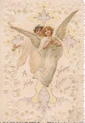 A HOLY HAPPY EASTER TO YOU 2 angels fly scattering flowers, many stylised flowers around on cream background