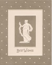 BEST WISHES below statue of woman holding floral chain behind her back, facing front looking left, grey starry background