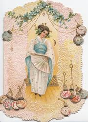 BEST WISHES in red on Japanese lanterns below girl in blue & white below forget-me-nots