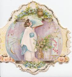 HAPPIEST WISHES in red on exaggerated Japanese lantern,  girl in blue & white looks up at owl in forget-me-nots
