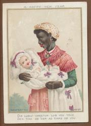 black lady in red dress holds child wrapped in white blanket with purple ribbon bows