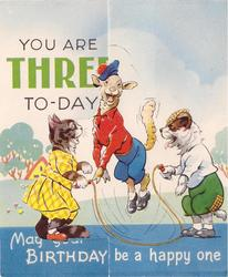 YOU ARE THREE TO-DAY upper left MAY YOUR BIRTHDAY BE A HAPPY ONE bottom, cat & dog swing skip-rope for goat