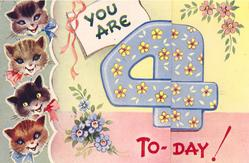 YOU ARE 4 TO-DAY! 4 smiling cat heads left, large blue 4 with yellow flowers