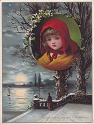 circular inset of girl with red hat, image below of lady overlooking boat on the water