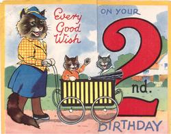 EVERY GOOD WISH ON YOUR 2ND  BIRTHDAY mother cat pushes two kittens in pram right, large red 2
