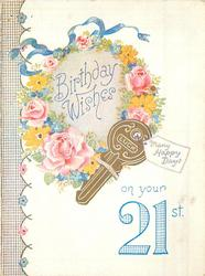 ON YOUR 21 ST in blue -- BIRTHDAY WISHES in floral wreath, LUCK on gilt key with tag MANY HAPPY DAYS