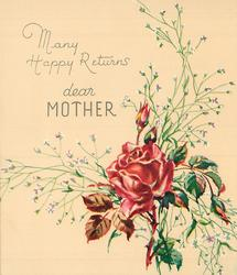 MANY HAPPY RETURNS above DEAR MOTHER red rose & buds with white floral sprays, lower right