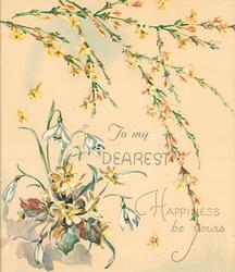HAPPINESS BE YOURS sprays of yellow jasmine above  TO MY DEAREST snowdrops & yellow asters left
