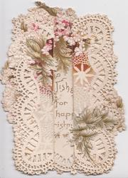no front title, pink & white dianthus around, complex embossed & very perforated white design on flaps & back