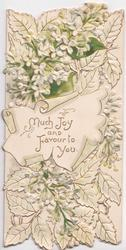 MUCH JOY AND FAVOUR TO YOU on scroll, white lilac almost surrounds, perforated
