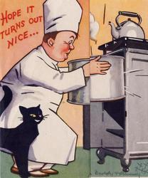 HOPE IT TURNS OUT NICE baker removes large cake pan from oven, black cat beside
