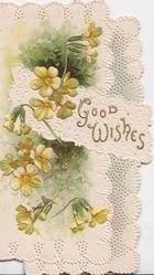 GOOD WISHES in gilt on white design, yellow primroses around