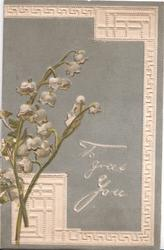 TO GREET YOU in white, grey background, lilies-of-the-valley left, stylised marginal white design