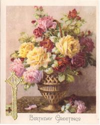 BIRTHDAY GREETINGS pink, yellow & red roses in metallic vase, gilt key applique left
