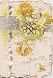 GOD BLESS YOU below daffodils & complex perforated design embossed