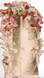 GREETINGS in gilt, red anemones on both front sides, brown/white background, embossed,