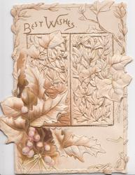 BEST WISHES in  gilt above perforated holly & mistletoe design in brown on front & over window