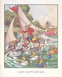 MANY HAPPY RETURNS personised animals: rabbits on single mast boat, ducks & swan