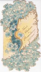 THERE'S GLADNESS IN REMEMBRANCE in gilt on white inset amongst blue asters & blue design