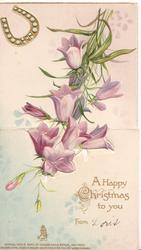 A HAPPY CHRISTMAS TO YOU, purple campanulas dangling from above, gilt horseshoe upper left