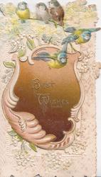 BEST WISHES  in gilt on brown designed plaque, 5 blue-tits above, stylised blossom, perforated white background