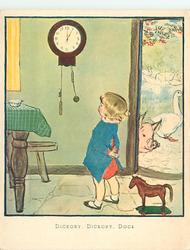 DICKORY, DICKORY, DOCK child looks at mouse running down clock, pig & geese visible through  doorway