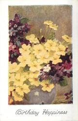 BIRTHDAY HAPPINESS yellow primulas & purple violets