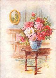 no front title, blue vase on table with large pink flowers
