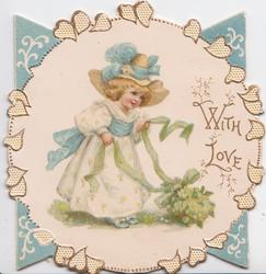 WITH LOVE in gilt, blonde girl in white bent over with green ribbon tied to bunch of mignonette