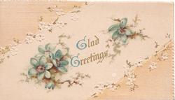 GLAD GREETINGS in gilt between blue anemones, pale pink corner designs