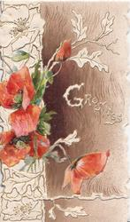 GREETINGS right in white, red poppies left, brown background, white design left