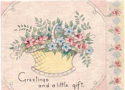 GREETINGS AND A LITTLE GIFT basket of stylised violets & roses, panel of roses right