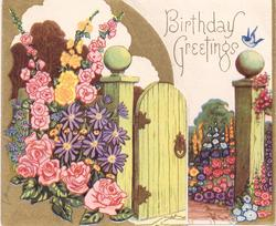 BIRTHDAY GREETINGS die cut panel with garden gate & flowers left, bluebird on garden post right