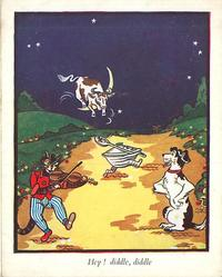 HEY! DIDDLE, DIDDLE night scene with nursery rhyme characters on golden moonlit road