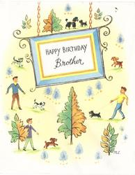 HAPPY BIRTHDAY BROTHER  on hanging sign, 3 men walk dogs, half green & half brown leaves, small white trees & dogs surround