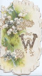 BEST WISHES (W illuminated & glittered) in gilt, right of  lilies-of-the valley, green & white marginal design