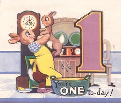 YOU'RE ONE TO-DAY! mother rabbit lifts bunny out of bath basin, large mauve 1 right