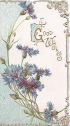 GOOD WISHES(G illuminated ) on white, blue cornflowers & perforated blue design left