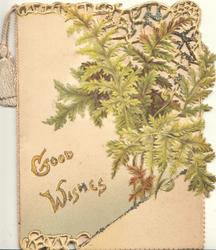 GOOD WISHES(G&W illuminated) below ferns & perforated gilt design