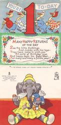 YOU'RE 1 TO-DAY when unfolded: marching ducks top, inscription centre, die-cut elephant in yellow dress bottom