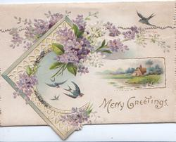 MERRY GREETINGS violets & lilac above white design of swallows & watery rural inset