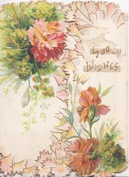 GOOD WISHES in gilt, sprigs of mignonette & pink/red carnations on both flaps