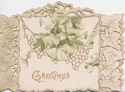 GREETINGS in gilt at  base of white plaque stylised green flowers & leaves, marginal white & gilt leaf design