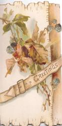 GREETINGS in gilt on strap across blackberry & leaves, white background left, brown plank right