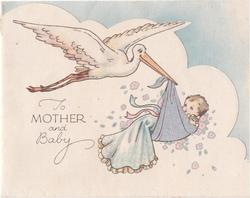 TO MOTHER AND BABY stork flies, carrying baby in silvered bundle, small stylised pink flowers