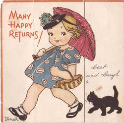 MANY HAPPY RETURNS girl walks left holding pink umbrella, black cat follows behind