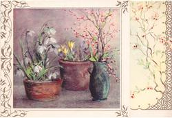 inset floral pots: snowdrops, croci & pink blossoms, stylised pink blossoms on panel right, partial gilt filigree border